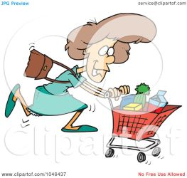 shopping grocery woman cartoon clip rf toonaday clipart