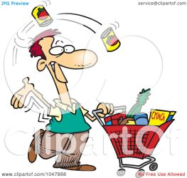 shopping grocery cartoon clip guy royalty illustration ron rf leishman clipart toonaday short transparent background