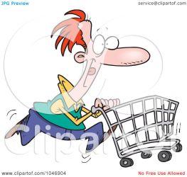 pushing cart shopping cartoon clip clipart rf toonaday
