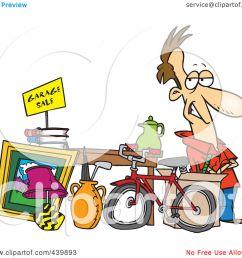 royalty free rf clip art illustration of a cartoon man selling his stuff at a yard [ 1080 x 1024 Pixel ]