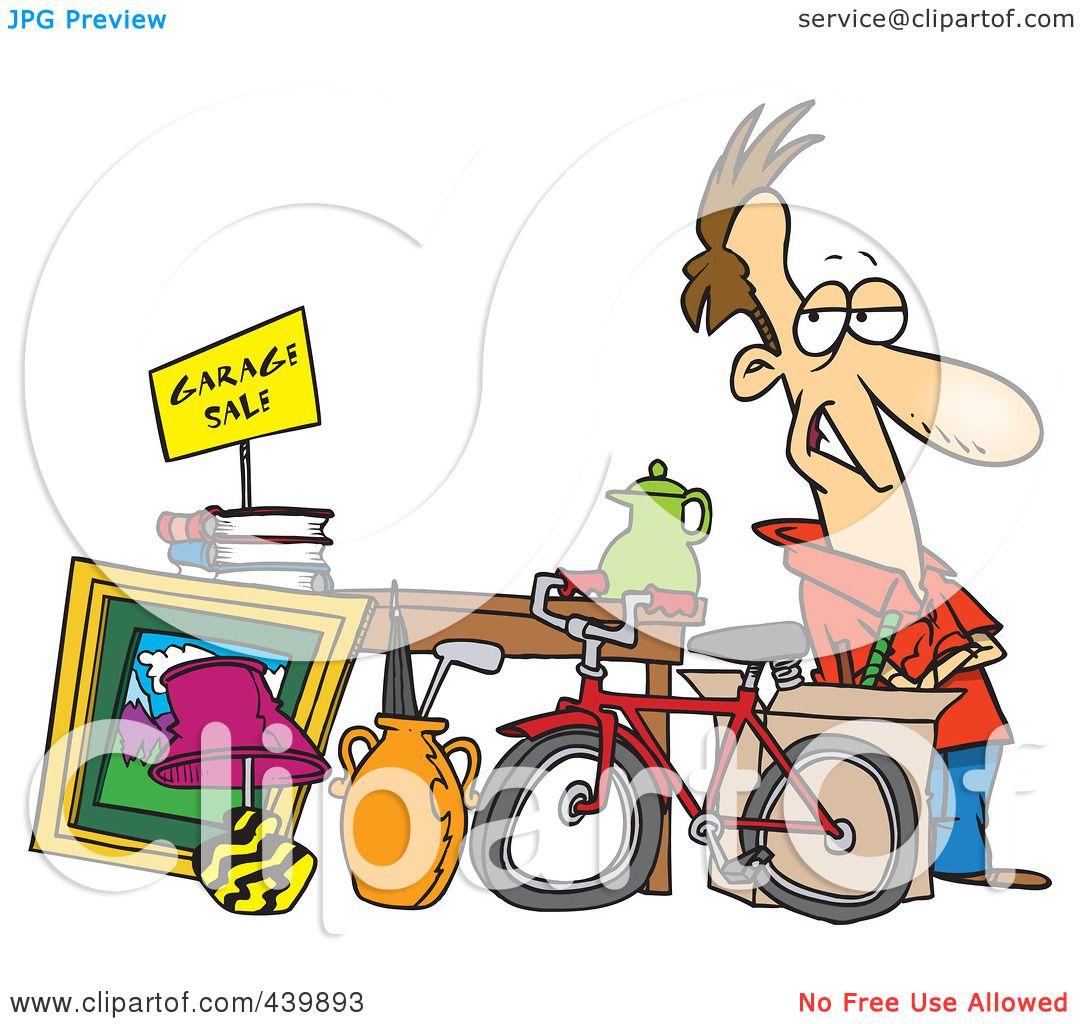hight resolution of royalty free rf clip art illustration of a cartoon man selling his stuff at a yard