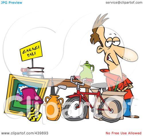 small resolution of royalty free rf clip art illustration of a cartoon man selling his stuff at a yard