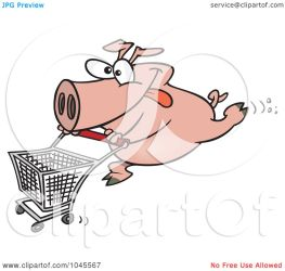 cart shopping pushing pig cartoon clip toonaday illustration royalty rf clipart