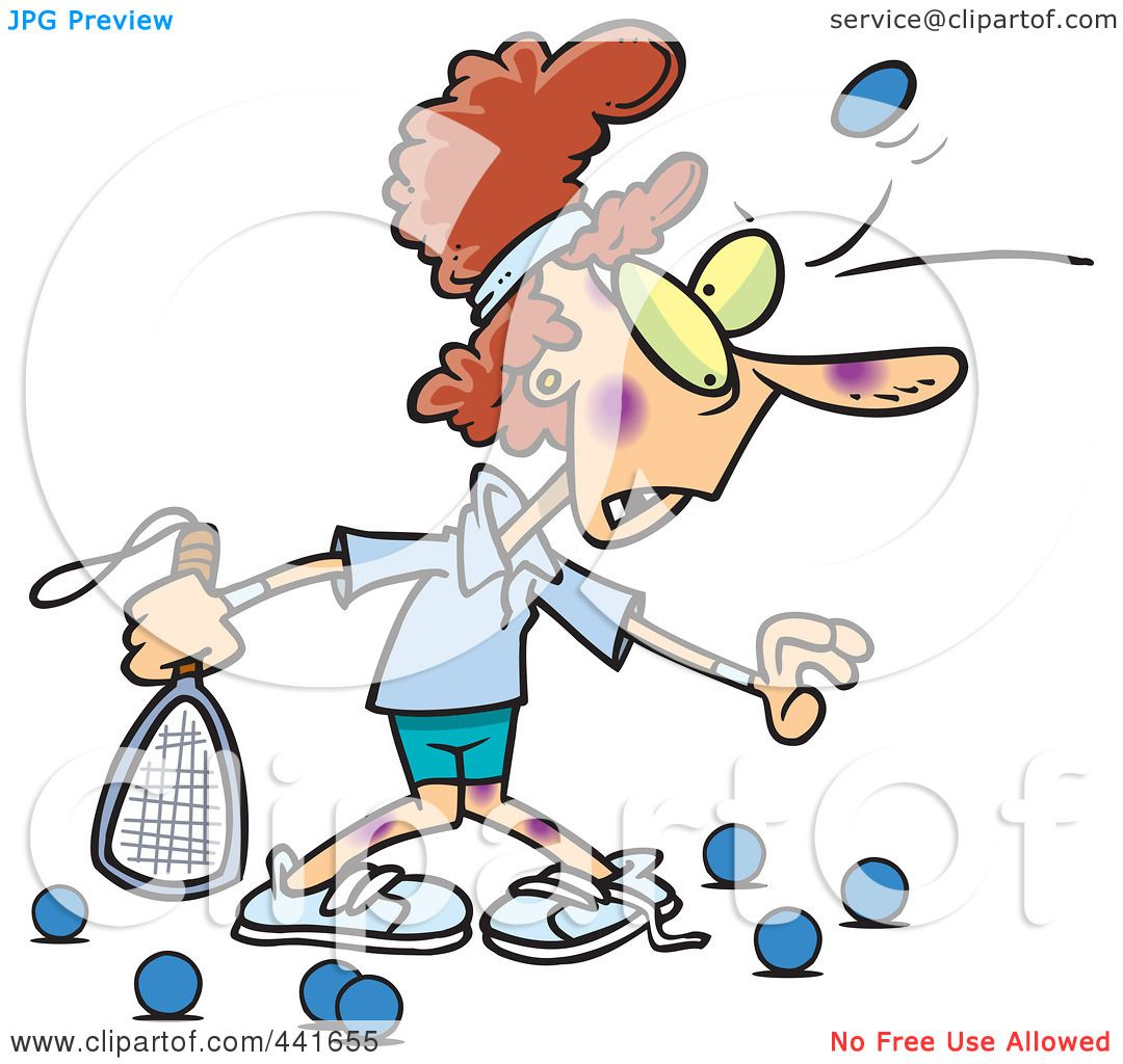 hight resolution of royalty free rf clip art illustration of a cartoon woman getting bruised during racquetball by toonaday