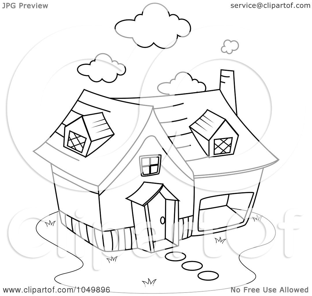 Royalty Free Rf Clip Art Illustration Of A Coloring Page Outline Of A Home By Bnp Design