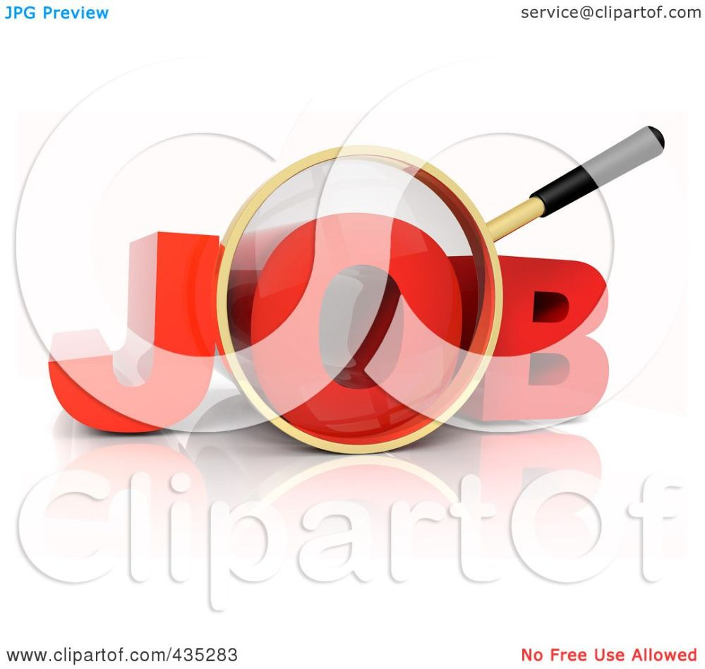 medium resolution of royalty free rf clipart illustration of a 3d magnifying glass over the red word job by tonis pan