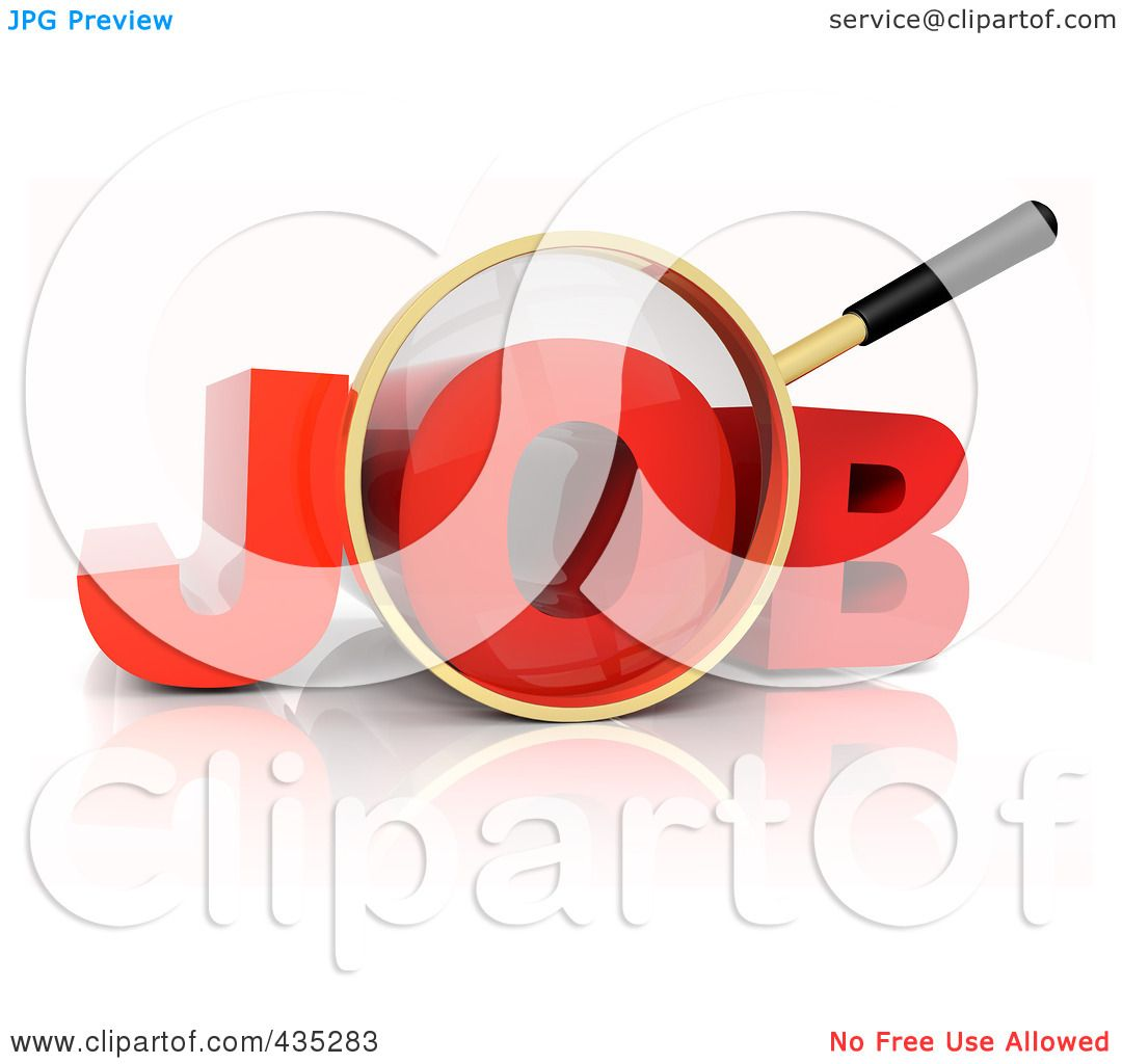 hight resolution of royalty free rf clipart illustration of a 3d magnifying glass over the red word job by tonis pan