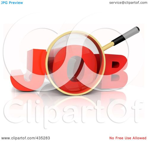 small resolution of royalty free rf clipart illustration of a 3d magnifying glass over the red word job by tonis pan
