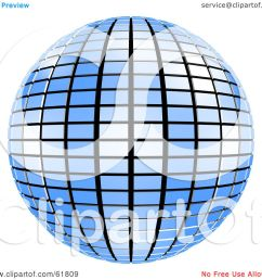 royalty free rf clipart illustration of a 3d tiled blue mirror disco ball [ 1080 x 1024 Pixel ]
