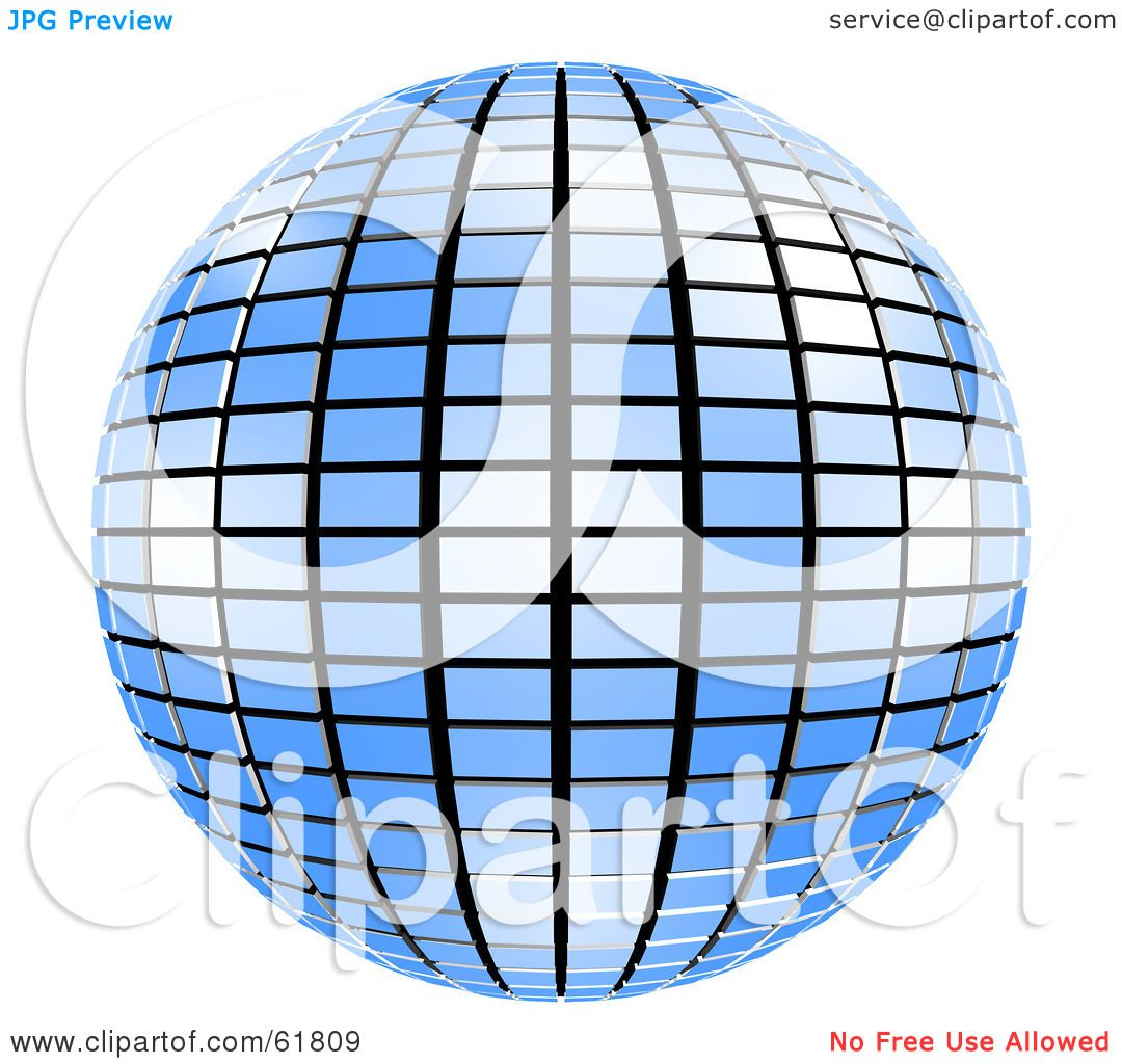 hight resolution of royalty free rf clipart illustration of a 3d tiled blue mirror disco ball