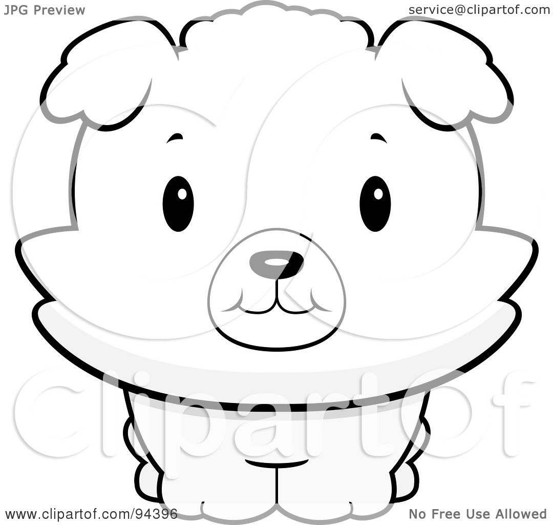 Royalty Free Rf Clipart Illustration Of A Baby Bichon Puppy Smiling Upwards By Cory Thoman