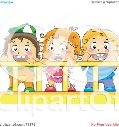 royalty free rf clipart illustration of a baby girl and her brothers or friends in a crib by bnp design studio [ 1080 x 1024 Pixel ]