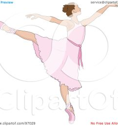royalty free rf clipart illustration of a beautiful brunette ballerina dancing in a pink dress by pams clipart [ 1080 x 1024 Pixel ]