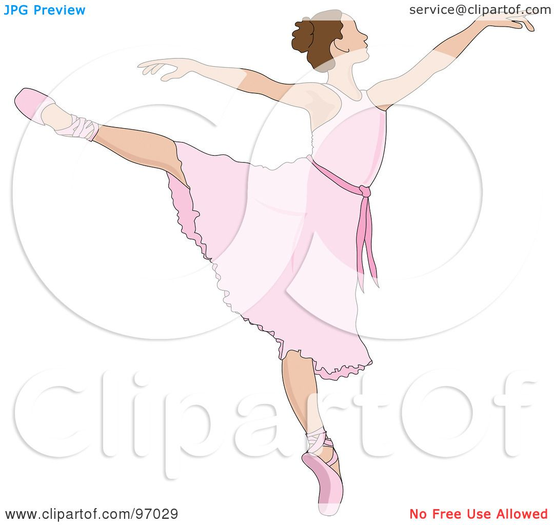 hight resolution of royalty free rf clipart illustration of a beautiful brunette ballerina dancing in a pink dress by pams clipart