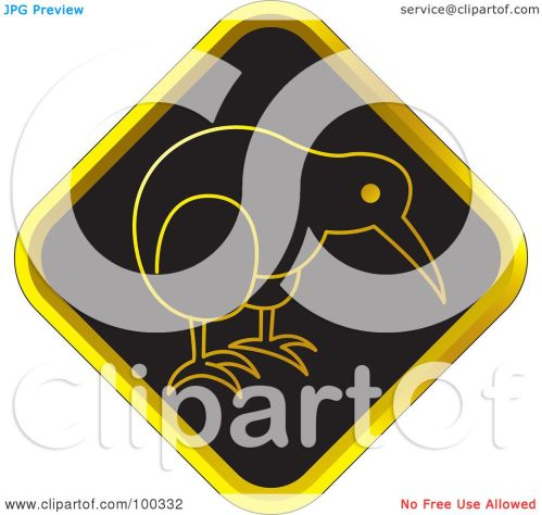 small resolution of royalty free rf clipart illustration of a black and gold kiwi bird icon by lal perera