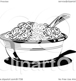 royalty free rf clipart illustration of a black and white bowl of cereal with a spoon by andy nortnik [ 1080 x 1024 Pixel ]