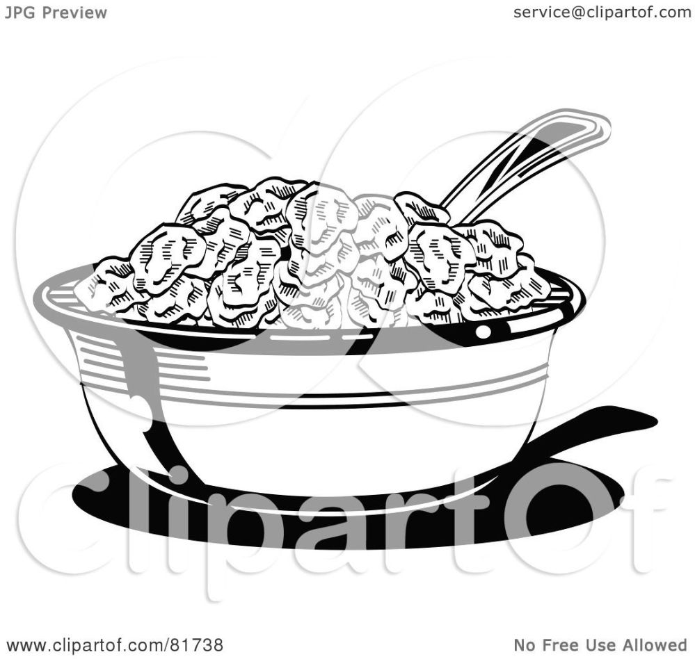 medium resolution of royalty free rf clipart illustration of a black and white bowl of cereal with a spoon by andy nortnik