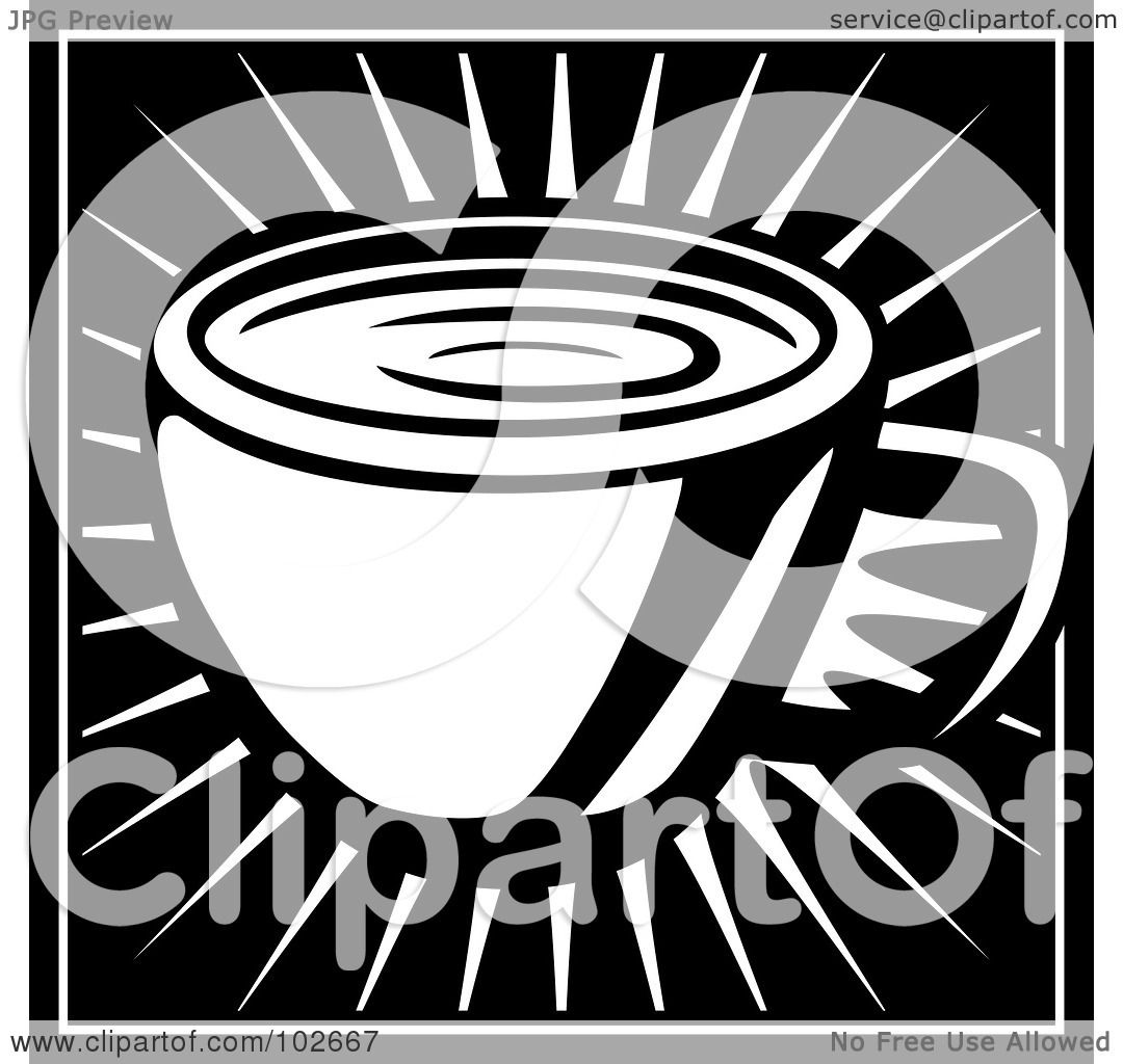 hight resolution of royalty free rf clipart illustration of a black and white coffee cup on a burst by cory thoman