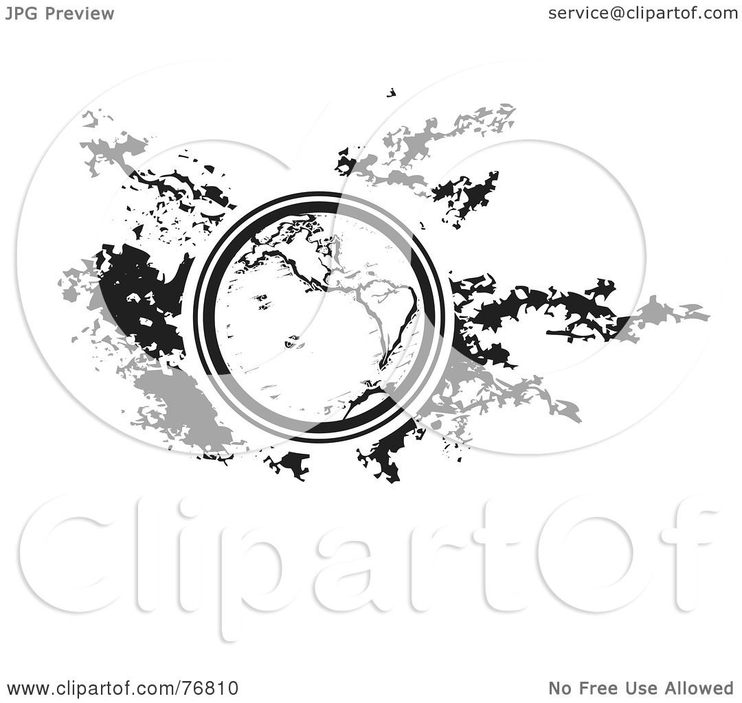 Royalty Free Rf Clipart Illustration Of A Black And White Earth Over A Sponge Paint Splatter