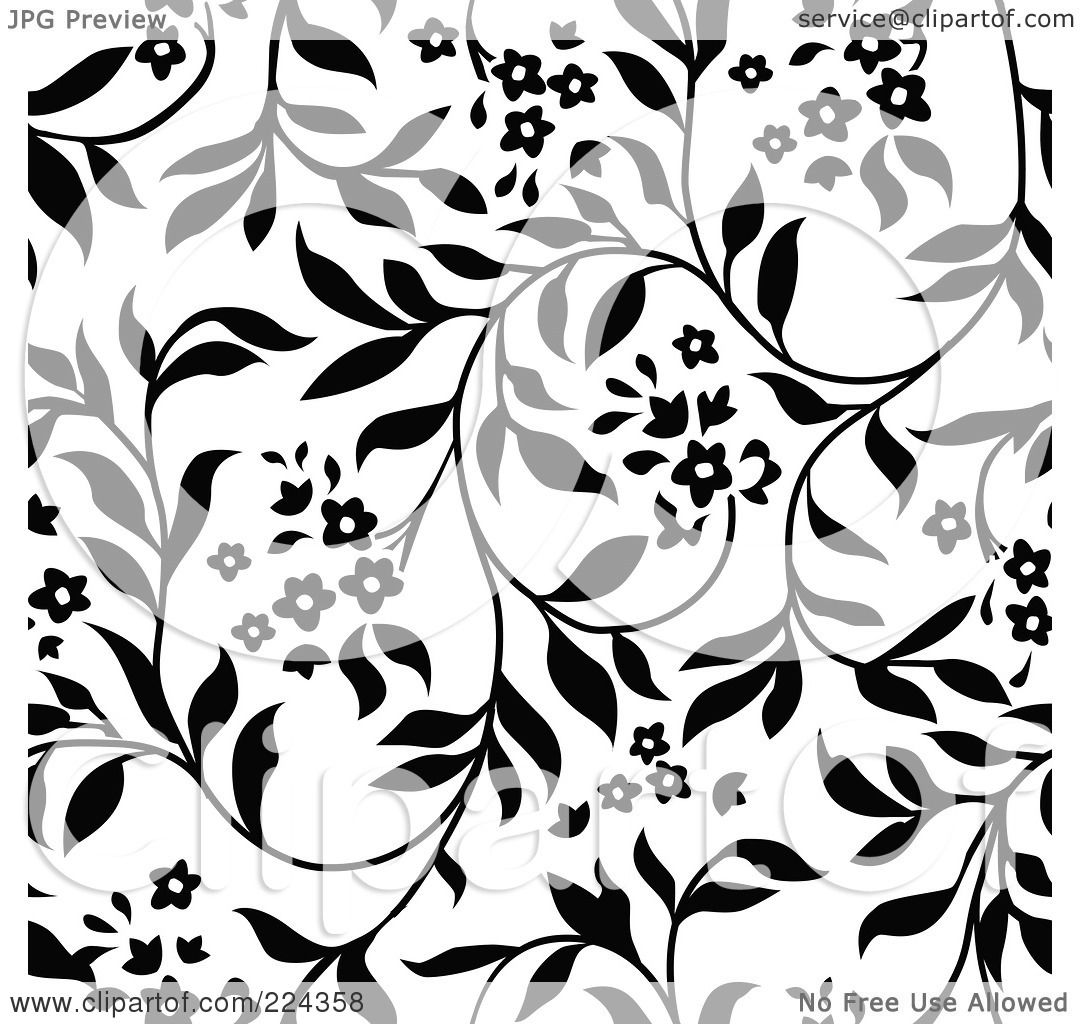Black And White Floral Background Clip Art Cliparts