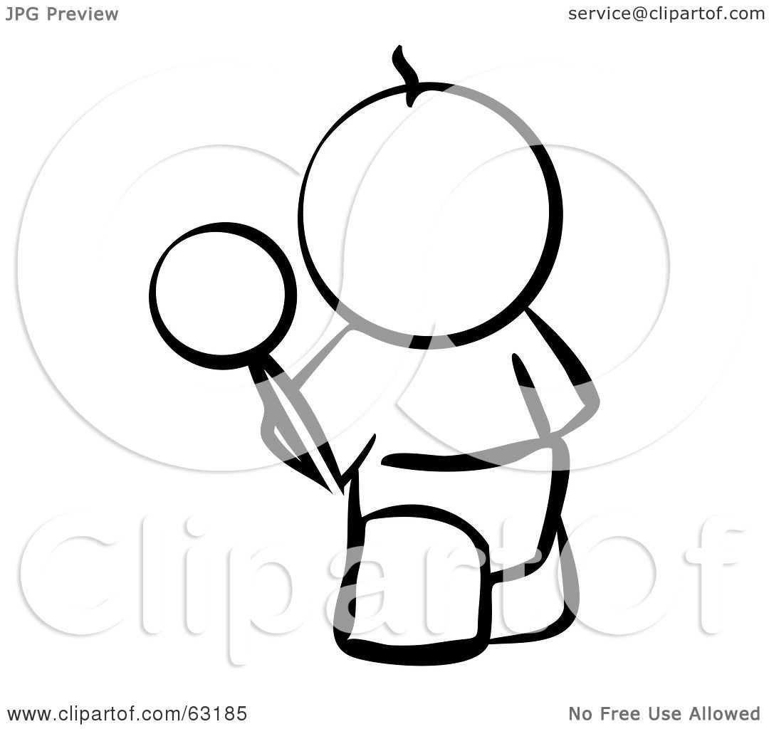 Royalty Free Rf Clipart Illustration Of A Black And White Human Factor Baby Outline With A
