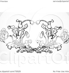 royalty free rf clipart illustration of a black and white ornate poppy design element by bestvector [ 1080 x 1024 Pixel ]