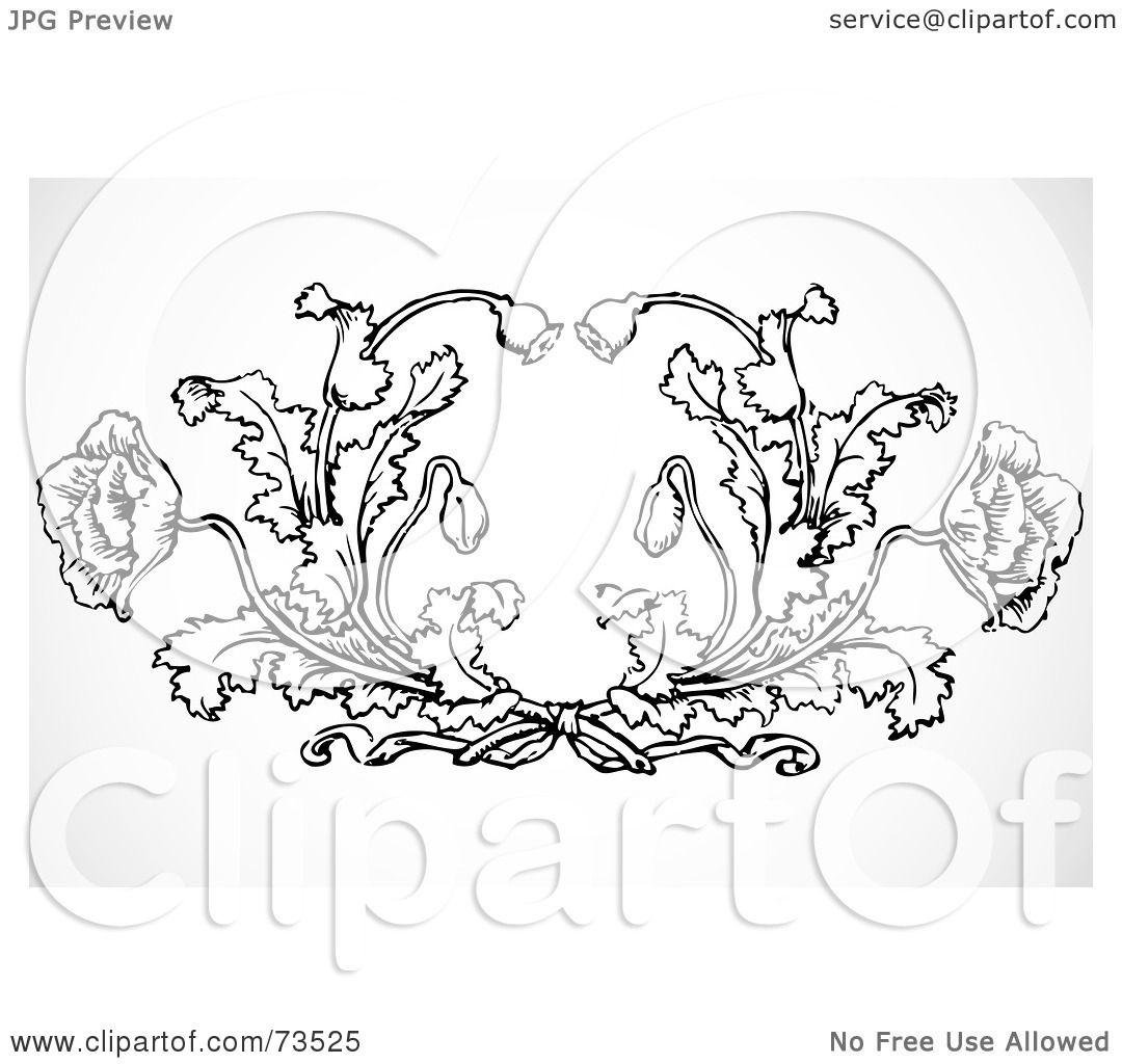 hight resolution of royalty free rf clipart illustration of a black and white ornate poppy design element by bestvector