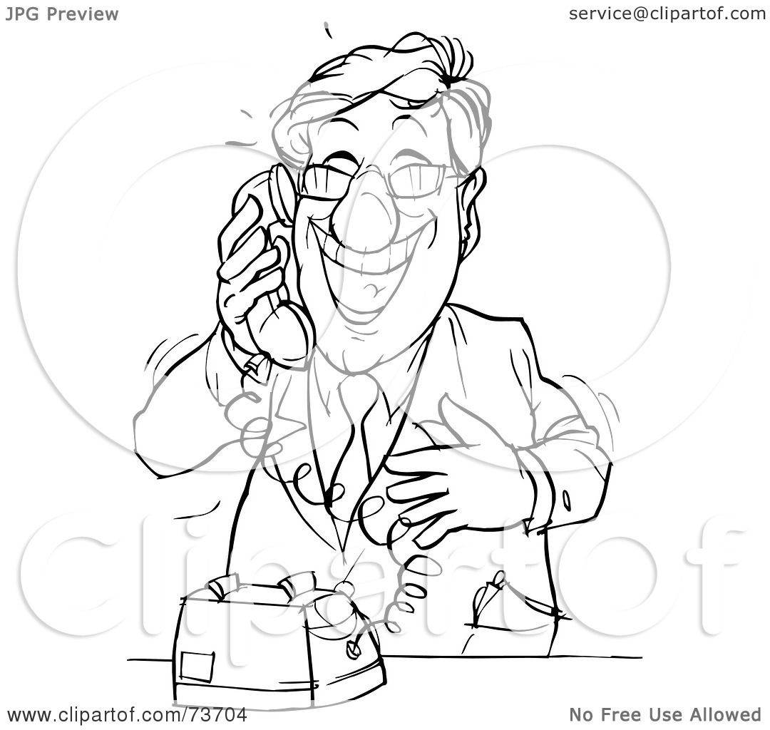 Royalty Free Rf Clipart Illustration Of A Black And White Outline Of A Happy Businessman On A