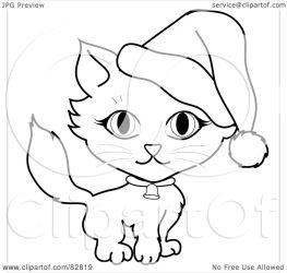 outline cat wearing kitty hat santa clipart collar bell illustration royalty rf pams cliparts background without