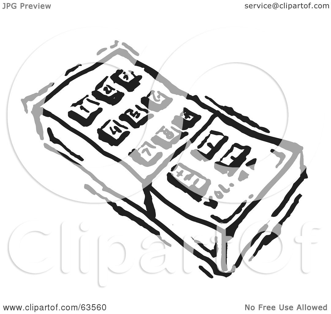 Royalty Free Rf Clipart Illustration Of A Black And White Remote Control With Push Buttons By