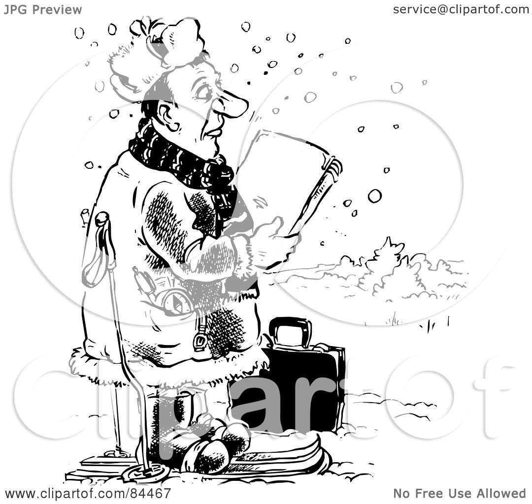 Royalty Free Rf Clipart Illustration Of A Black And White Sketch Of A Salesman Skiing In The
