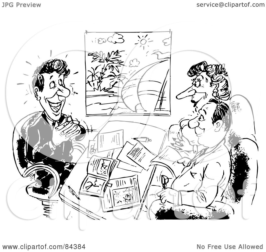 Royalty Free Rf Clipart Illustration Of A Black And White Sketch Of A Travel Agent Working