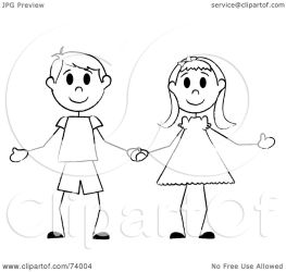 holding hands boy clipart stick illustration pams royalty kid clip rf twins graphic