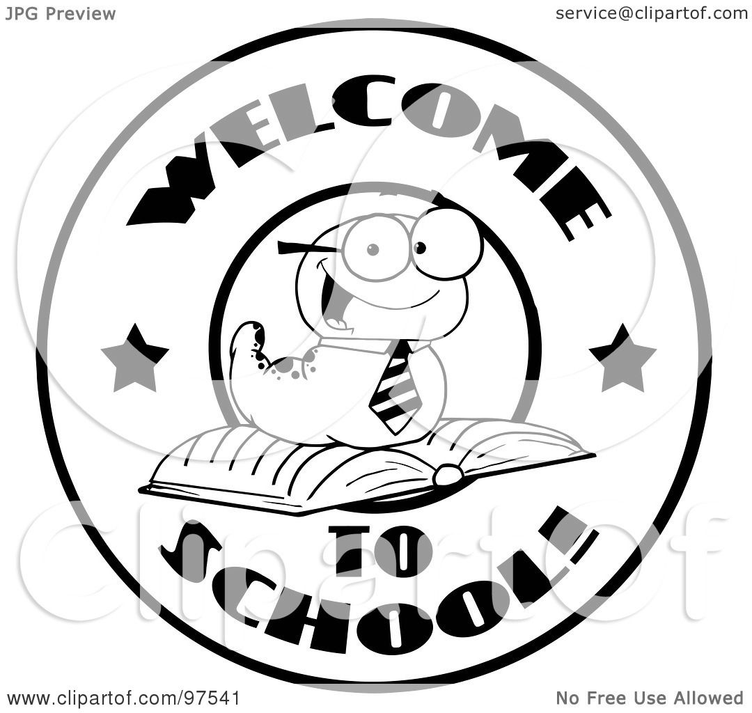 Royalty Free Rf Clipart Illustration Of A Black And White Worm On A Welcome Back To School