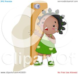 Royalty Free RF Clipart Illustration of a Black Girl Crying Because She Shut Her Finger In A Door by BNP Design Studio #433051