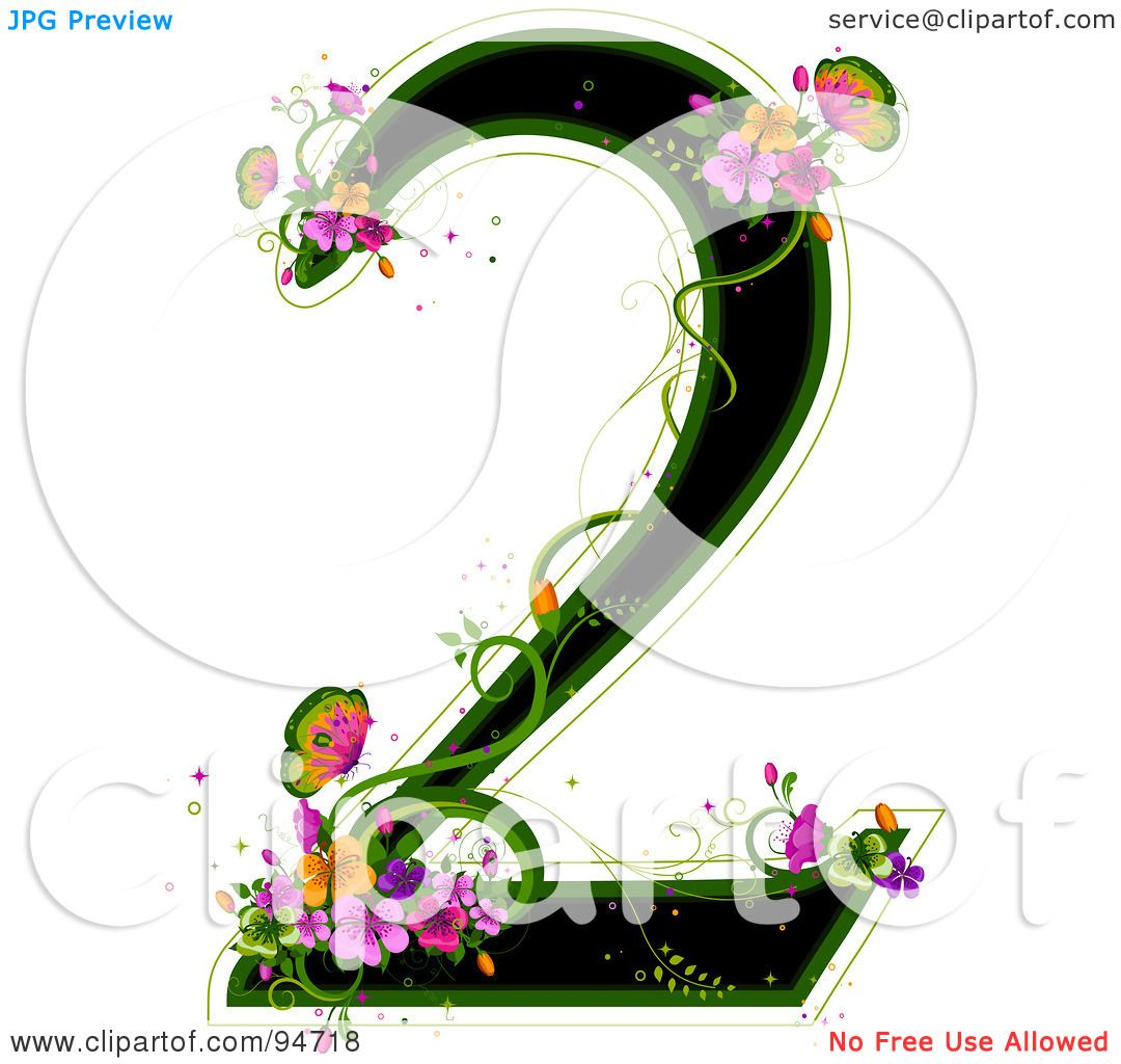 Royalty Free RF Clipart Illustration Of A Black Number 2