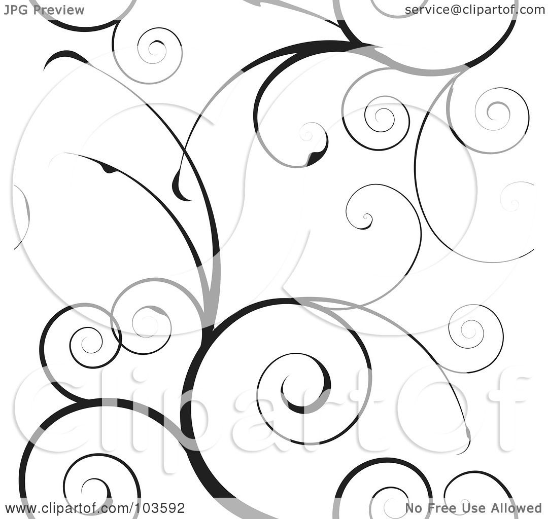 Royalty Free Rf Clipart Illustration Of A Black Swirly Vine Background Pattern On White By