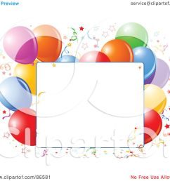 royalty free rf clipart illustration of a blank text box bordered with confetti and colorful party [ 1080 x 1024 Pixel ]