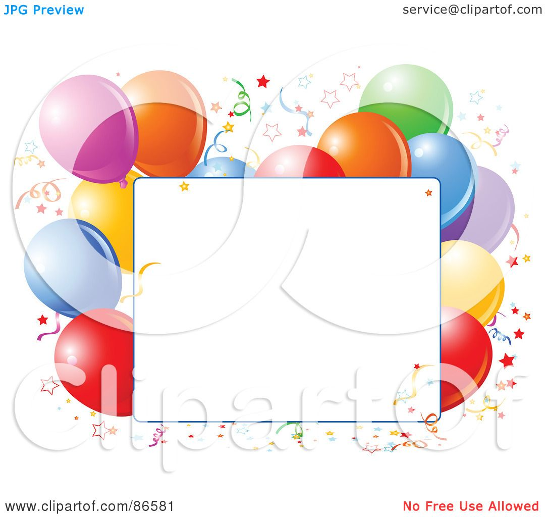 hight resolution of royalty free rf clipart illustration of a blank text box bordered with confetti and colorful party