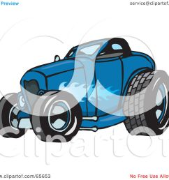 royalty free rf clipart illustration of a blue hot rod with a ghost flame paint job by dennis holmes designs [ 1080 x 1024 Pixel ]