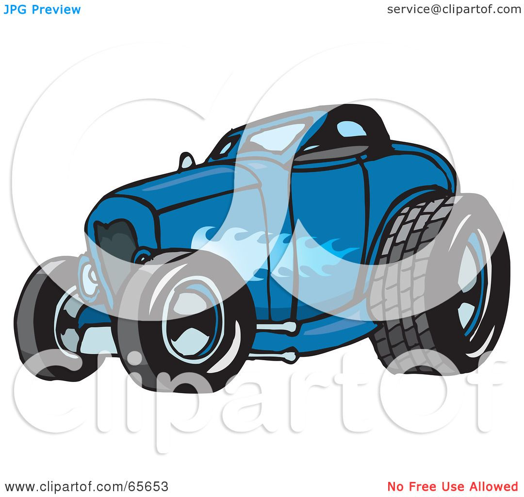 hight resolution of royalty free rf clipart illustration of a blue hot rod with a ghost flame paint job by dennis holmes designs