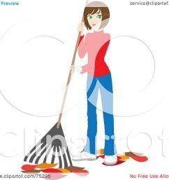 royalty free rf clipart illustration of a brunette caucasian woman raking up autumn [ 1080 x 1024 Pixel ]
