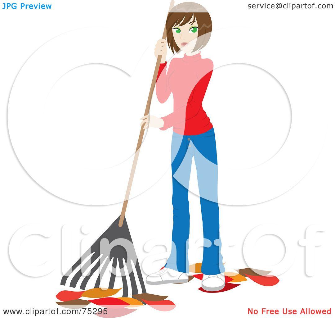 hight resolution of royalty free rf clipart illustration of a brunette caucasian woman raking up autumn