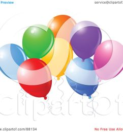 royalty free rf clipart illustration of a bunch of colorful party balloons with [ 1080 x 1024 Pixel ]