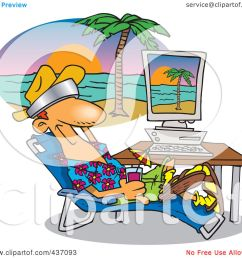 royalty free rf clipart illustration of a cartoon man taking a virtual vacation in his office [ 1080 x 1024 Pixel ]