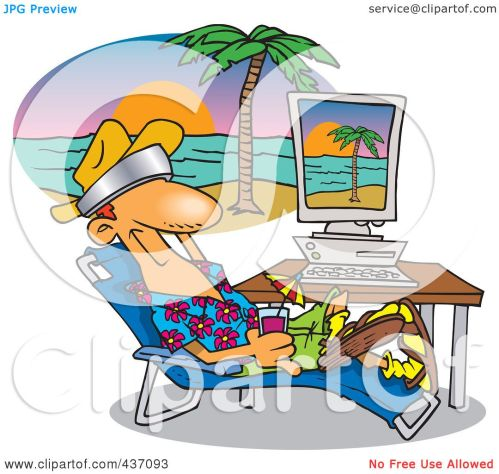 small resolution of royalty free rf clipart illustration of a cartoon man taking a virtual vacation in his office