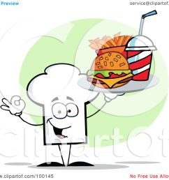 royalty free rf clipart illustration of a chef hat guy carrying fast food by hit toon [ 1080 x 1024 Pixel ]