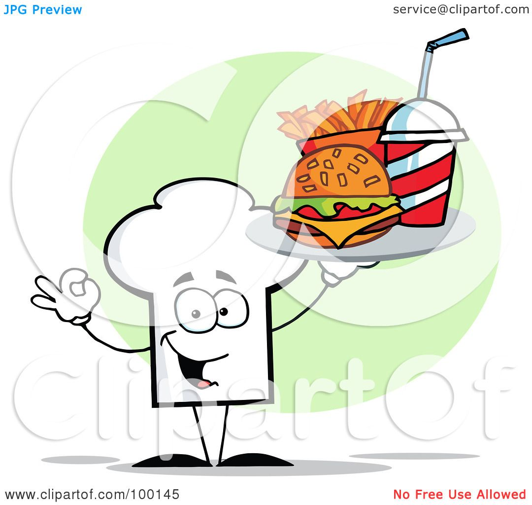 hight resolution of royalty free rf clipart illustration of a chef hat guy carrying fast food by hit toon