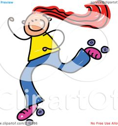 royalty free rf clipart illustration of a childs sketch of a girl roller [ 1080 x 1024 Pixel ]