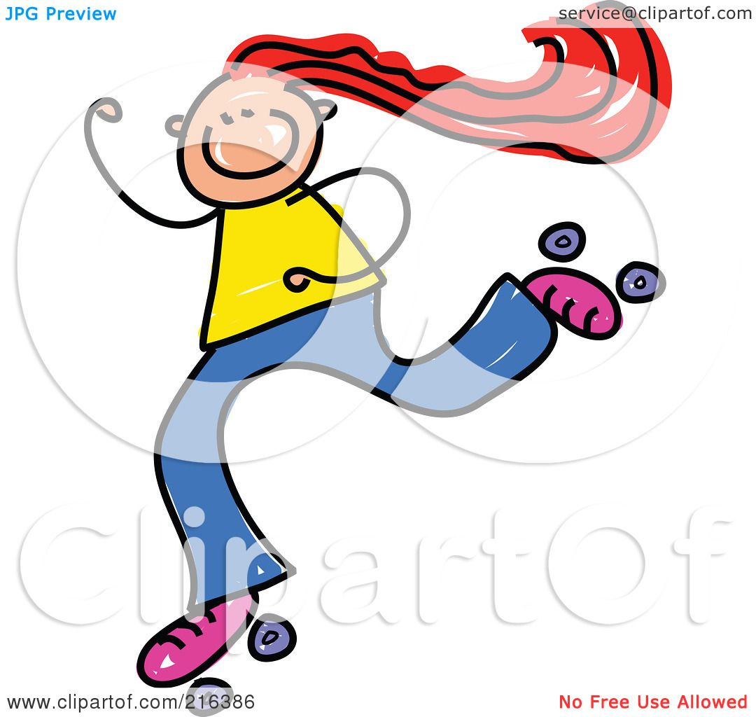 hight resolution of royalty free rf clipart illustration of a childs sketch of a girl roller